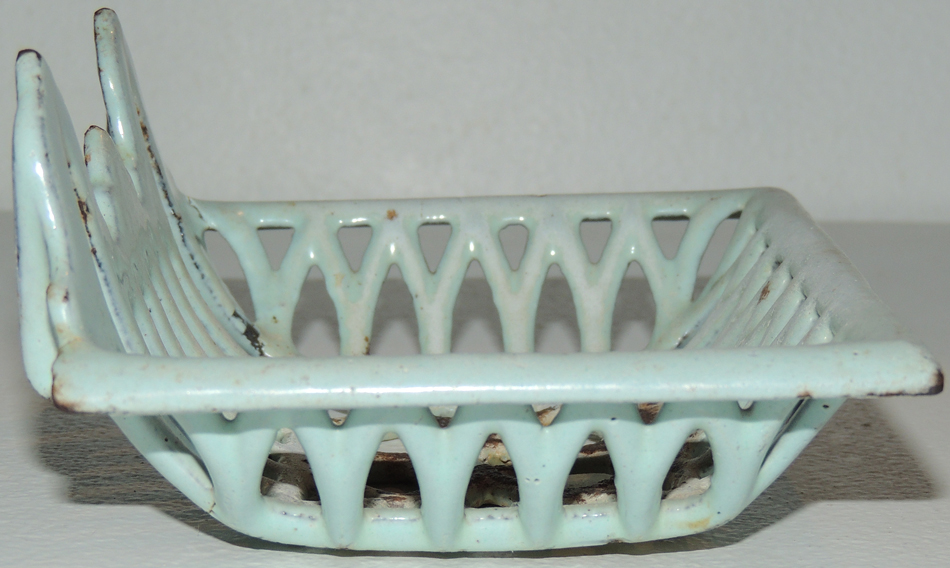 Antique Blue Enamel Cast Iron Art Deco SOAP DISH Holder