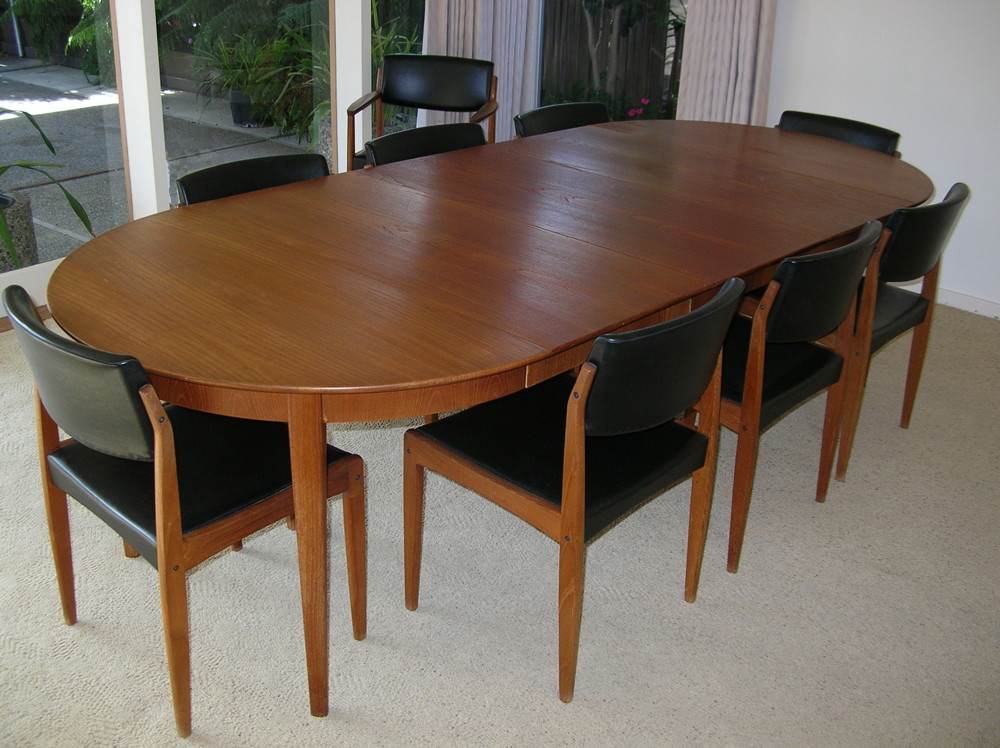 1960s sor 248 sole teak dining room table 9 chairs amp pads mid